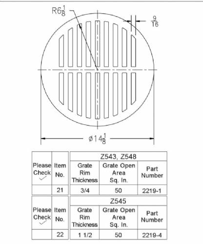 2219 4 Z545 Round Grate 14 1 8 Quot X 1 1 2 Quot By Commercial
