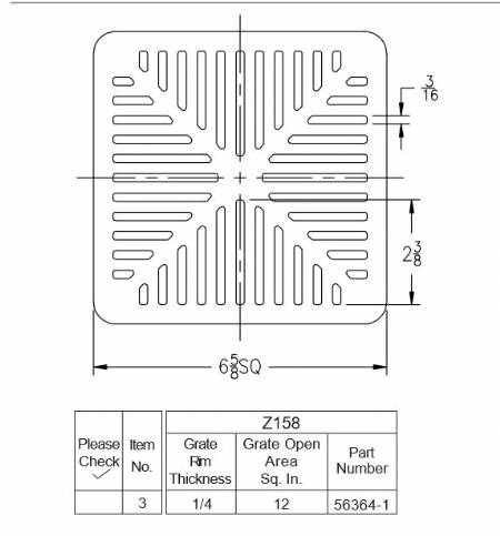 56364 1 Z158 Square Grate 6 5 8 Quot X 1 4 Quot By Commercial